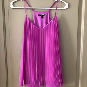 Express purple pleated cami with adjustable straps